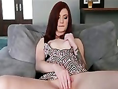 Hot Skinny red-head girlfriend finger-fucks tight pussy to orgasm