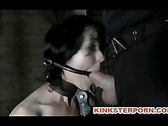 BDSM Slave Poppy James - Gag Whip Cane seachpov play Chains