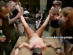 Men and women enjoy orgy with sex slave
