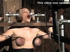 Bound Tits and Locked on a Sybian, Orgasming Girl Made to Suck Dildo