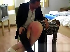 GBS Redhead mom janpaese spanked otk on her barebottom for lying