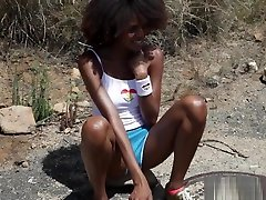 Chocolate skinny asian angelique masturbates after a warm run outside