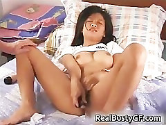 Busty dildoing asian cutie gets her part1