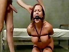 Bound busty chestnut babe hard group sex anal and whipped