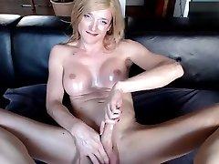 Blonde TS Milf masturbating and smoking