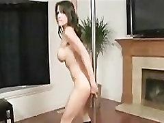Brunette Pole Dances and Finger-Fucks