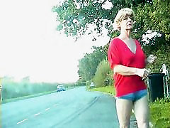 Zoe exhibitionist transvestite bitch in bumless hot pants on the streets