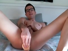 Freshman fucks himself with a dildo in missionary for you