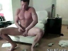 Bearded Hunk Strips And Masturbates part1