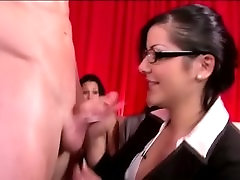 Clothed babe gives naked guy a blowjob in reality groupsex