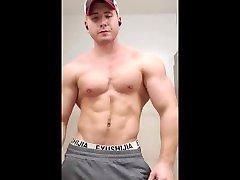 Big Jock flexing gym indian budha man room