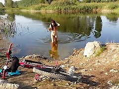 NAKE & HOT Biking,Fishing and Swimming in countryside