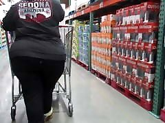 Blond GILF with wide fat ass and sexy walk