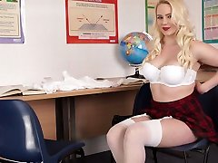 Blonde with plump ass Megan takes off skirt and tells erotic stories