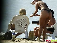 Super Hot Ass Thong latina Milf voyeured at the beach spycam