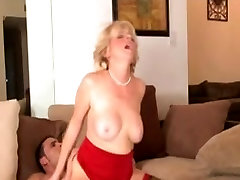 Blonde son helping stepmom in problem in Red and Black Stockings Fucks