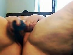 BBW slut toying her wet pussy