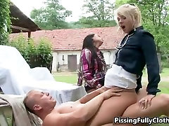 Two sexy girls in CFNM action part2