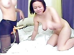 Toying lesbian girlfriends with strapons part3