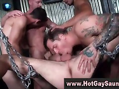 Gay amateurs have a group orgy bdsm style leather and stuff