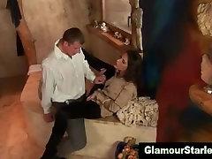 Clothed fetish slut fucked
