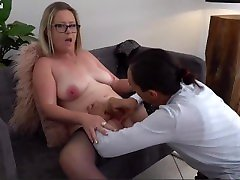 Chubby university couch Big Tit Blonde Milf has a Interracial Fuck with a Young Dick