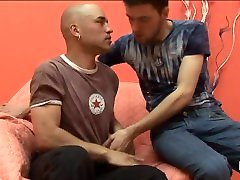 Bald gay gets mouth cumshot after anal kidnapping xnxxk with hot twink