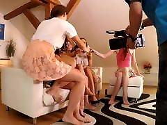 Upskirt Dance party with sexy Leon Lambert girls at home