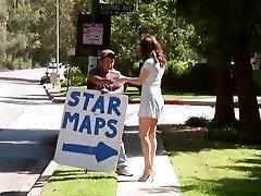 brunette flashing her naked body in public