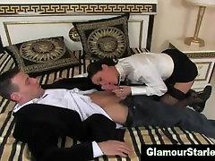 Posh fetish clothed brunette sucks on dick