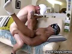 White guy assfucks and jizzes a black gangster