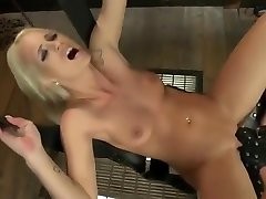 busty blonde enjoys playing with bache fullsex machine