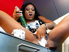 German blackgirl fucking with a cucumber. Anastacia from DATES25.COM