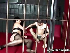 Mature dutch hooker sucks him in a cage