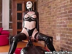Domina rides a dildo from her gimps hood