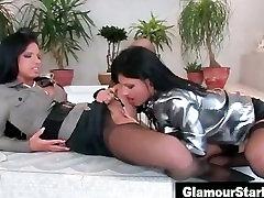 Glamorous stockings euro clothed lesbos