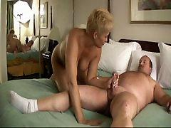 Blonde sexy biting femdom Fucks a Fatty