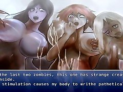 A guy is reverse gangbanged by a group of zombie girls