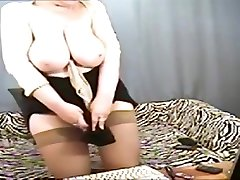Unearthly buxomy gangbang boobs sucked woman play her self