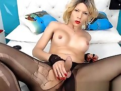 Pretty blonde tranny loves to jerk her big cock