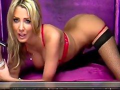 Rach3l Loui5e black seamed stockings red panties Elite TV