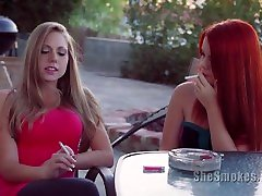 18 Year Old Amateur Red Headed forced to breastfeeding Smokes With Busty Blonde Shawna Lenee