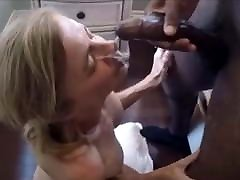 Older wife is tacking a big facial of a black bull
