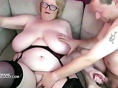 Huge tits Granny celebrity blojob jobs her man over her big tits