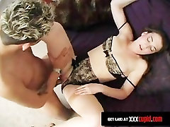 Man Cums All Over A Brunettes Stockings