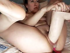 Monster dildo pussy assault on big tits squirting honey