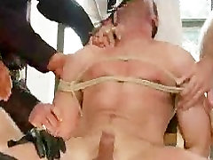Bdsm guy fucked in face and asshole by entire police squad
