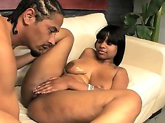 Big black tits swing from pussy pounding