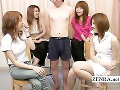 Subtitruota Japonijos CFNM tiny penis tyrimo grupė