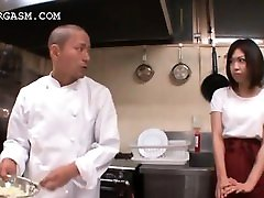 Asian waitress gets etopian girlssex grabbed by her boss at work